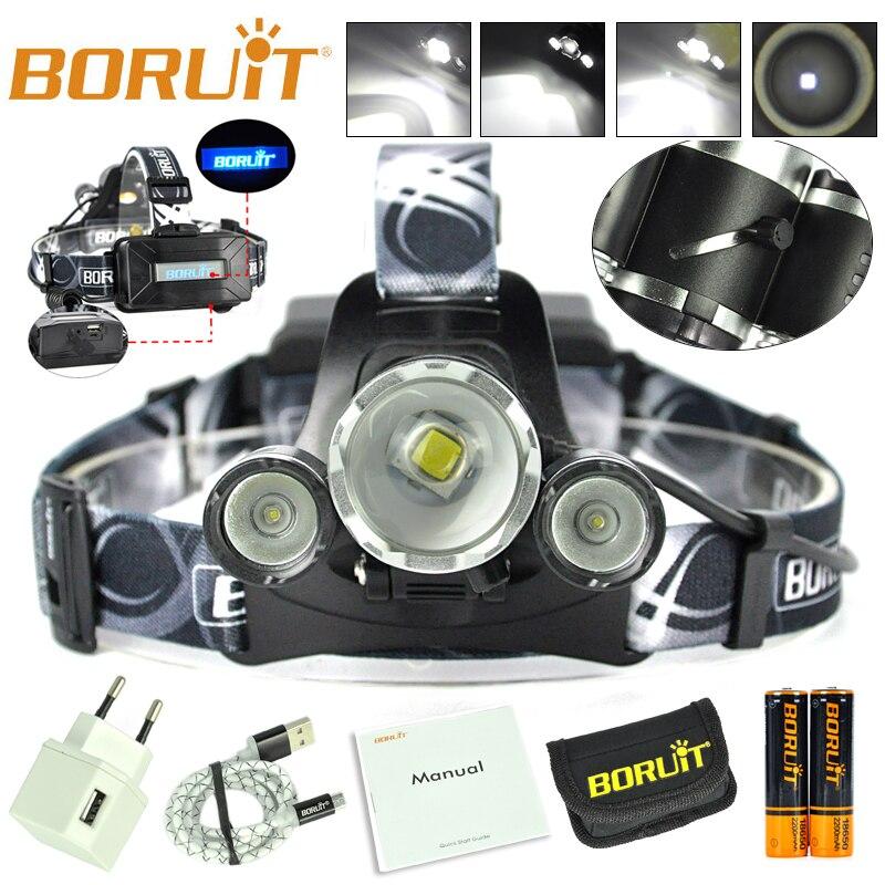 BORUIT RJ-5000 Plus B22 Rechargeable Zoom XM-L2 2X XPE White LED Hunting Headlamp Micro USB Headlight Torch 18650 PCB Batteries