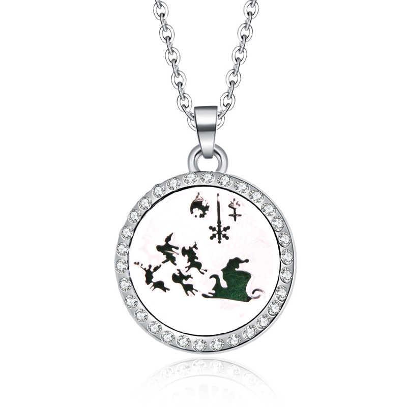 Strass medalhões Aromaterapia Óleos Essenciais juntos para sempre Difusor de Aroma Perfume Pingente de Colar de presente do Dia Dos Namorados