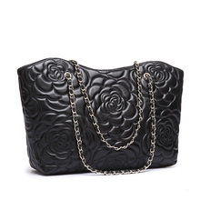 6048HOT Fashion Black Sheepskin Genuine Leather Embossing Luxury Lady Ladies Brand Bags Woman Shoulder Women Handbag