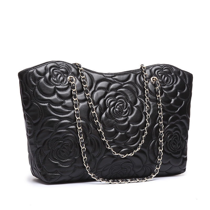 6048HOT Fashion Black Sheepskin Genuine Leather Embossing Luxury Lady Ladies Brand font b Bags b font