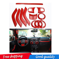 12 pic Interior Mouldings Full Set Interior Decoration Trim Kit with Special Mark Logo For Jeep Wrangler Cab 4 Door 2011 2015