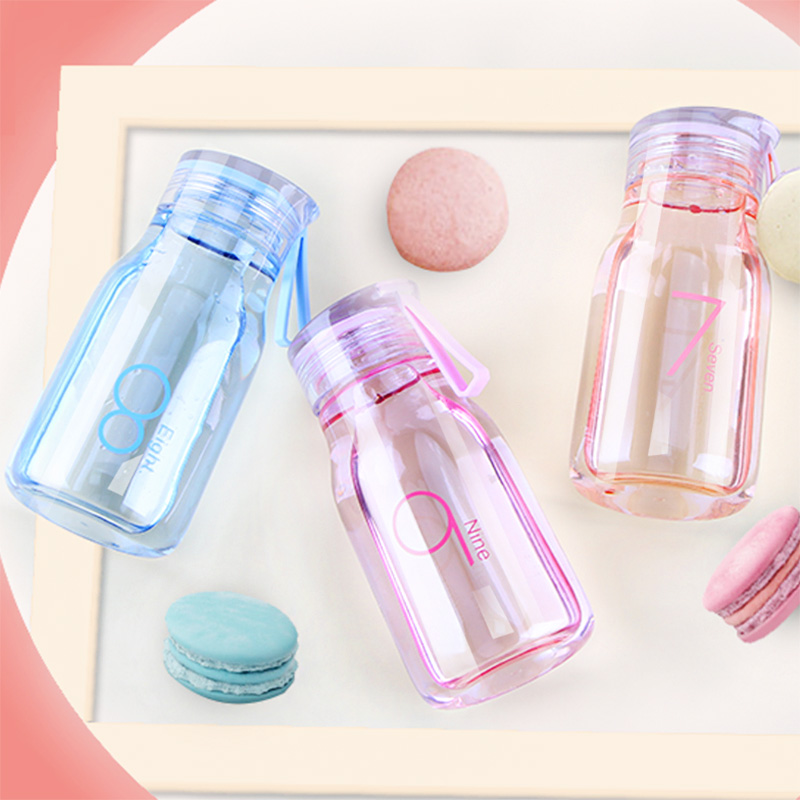 Small Fresh Girl Heart Portable Water Cup Plastic Middle School Students Creative Word Fashion Water Cup Leakproof Drop Cup 5