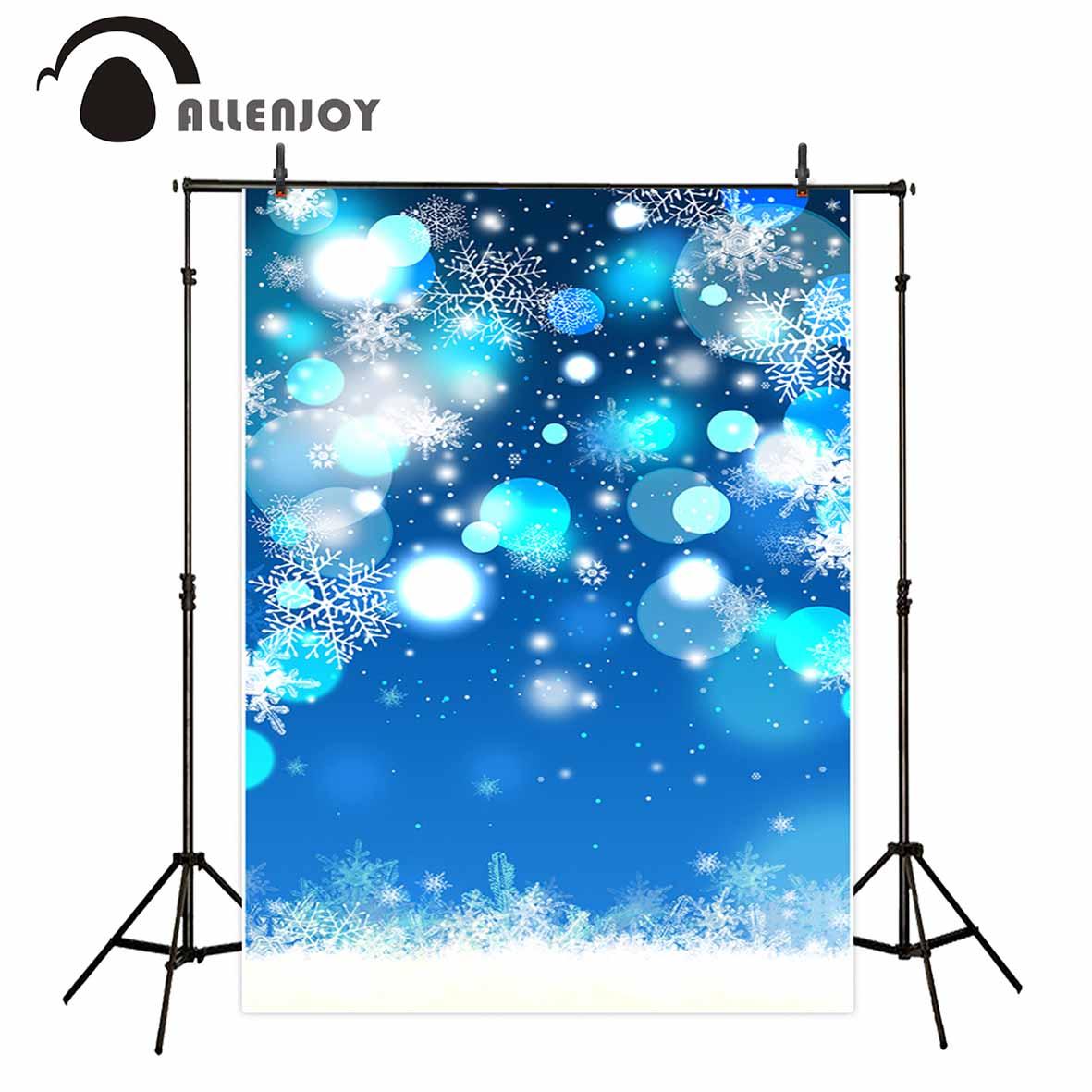 Allenjoy photography backdrop blue snowflake bokeh halo dot winter Christmas background original design vinyl cloth fabric
