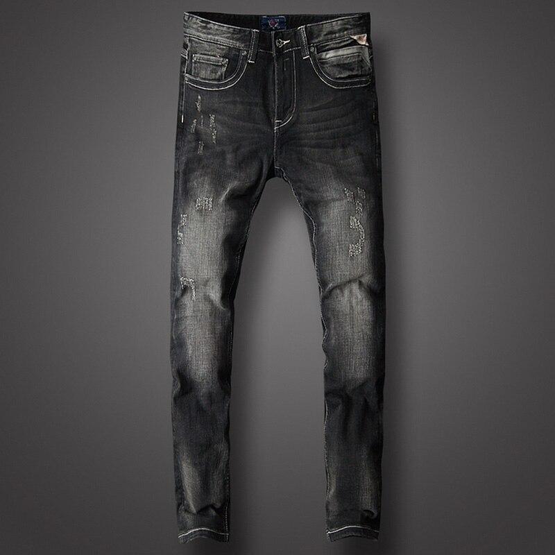 Black Color Fashion Classical Men Jeans Cotton Slim Fit Italian Designer Brand Jeans Men High Quality Ripped Jeans Homme Pants
