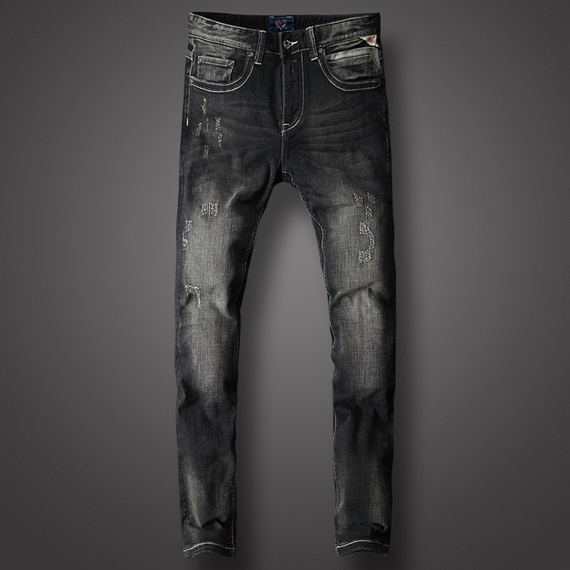 Fashion Classical Men Black Jeans Cotton Slim Fit Vintage Ripped Streetwear homme Hip Hop Pants hombre