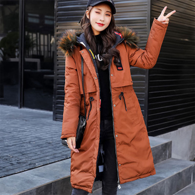 Two Sides Wearing Thicken Warm Long   Down     Coats   Women Casual Fur Hooded Loose Cotton   Coats   Winter Ladies Fashion Hardy Jackets