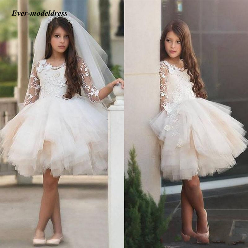 Pageant   Flower     Girl     Dresses   For Wedding 2018 Short Scoop Ball Gown Lace Appliques Short Sleeve   Girls   First Communion Gowns