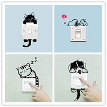 Funny Black Sleeping Cat Dog Switch Wall Stickers Home Decor Living Room Bedroom Parlor Decoration Vinyl Decals Diy Mural Art цена