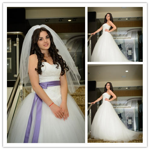 Good Buy Purple White Wedding Dress Sexy Puffy With