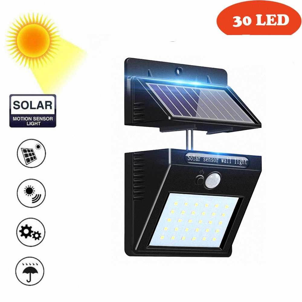 30 светодиодов лампа на солнечной батарее Светодиодная лампа сплит солнечная панель датчик движения для двора гаража патио фонарь безопасности ограждение для веранды Декор аварийный
