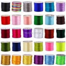 Cabo trançado de nylon para macrame kumihimo, conjunto de 2mm, cores mistas, amarração chinesa, 45m/carretel, shamballa fio de corda