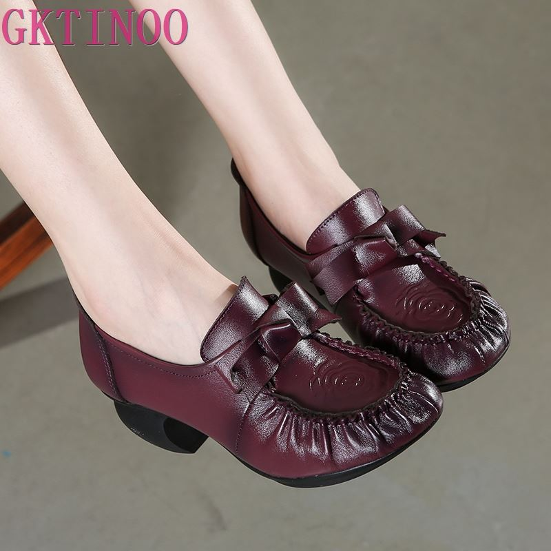 GKTINOO Spring Autumn Shoes Woman Genuine Leather Pumps Wedges High Heels Shoes Classic Retro Cow Leather