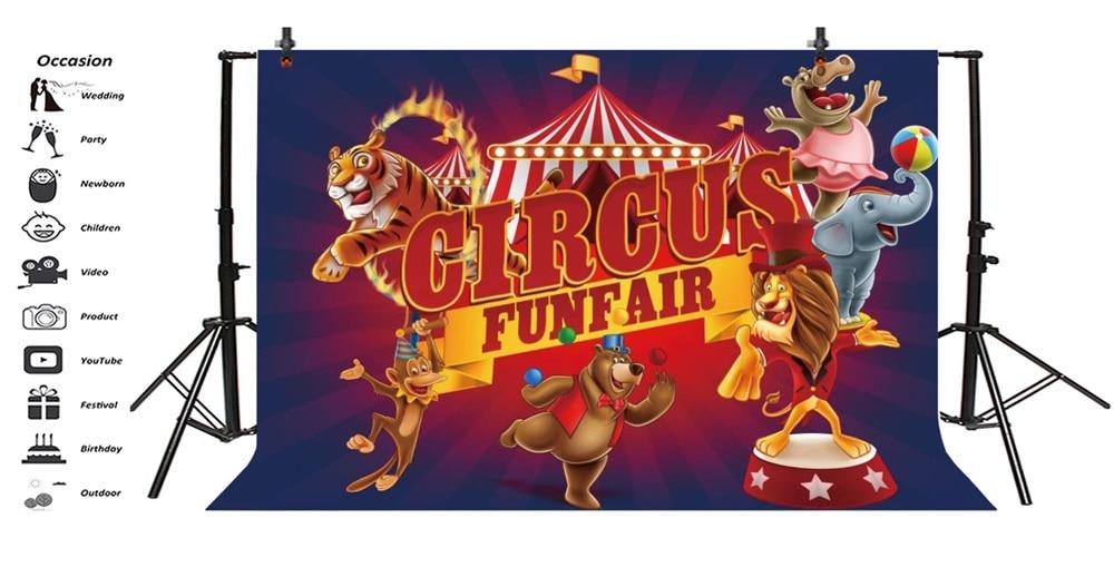 Laeacco Cartoon Animal Circus Cruise Babybarn Fotografiska Bakgrunder - Kamera och foto - Foto 3