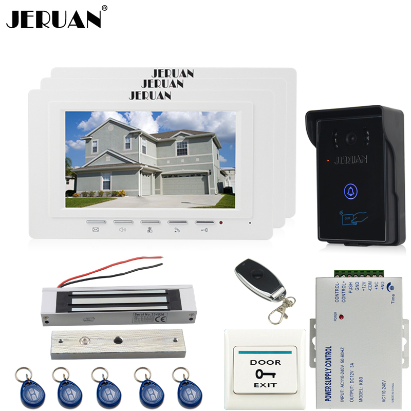 JERUAN three desk brand new 7`` TFT Video Door Phone System 700TVT Touch Camera+Magnetic lock+Remote control Unlock jeruan home 7 video door phone intercom system kit rfid waterproof touch key password keypad camera remote control in stock