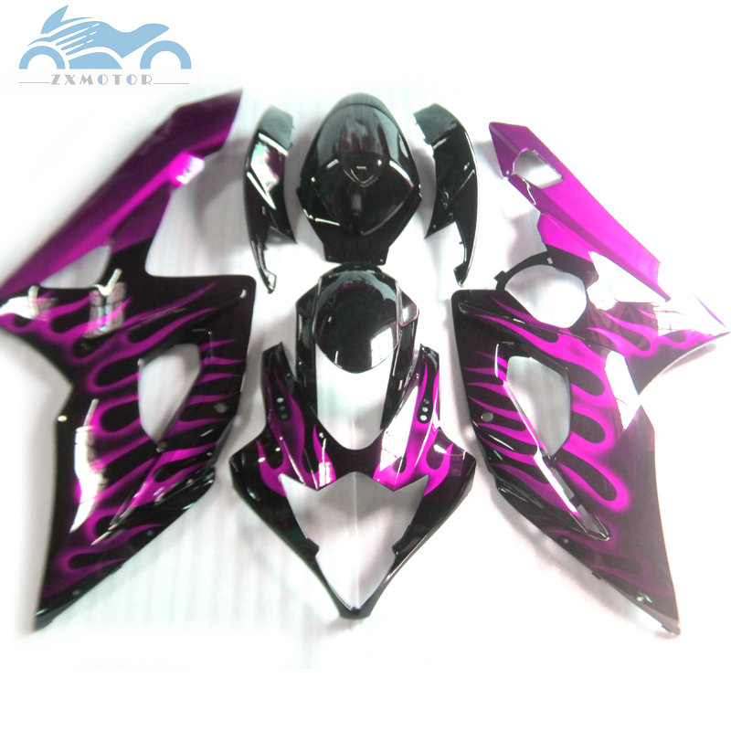 ABS plastic <font><b>Fairing</b></font> for <font><b>Suzuki</b></font> GSXR 1000 K5 <font><b>K6</b></font> <font><b>GSXR1000</b></font> 2005 2006 motor sport <font><b>fairings</b></font> kit 05 06 purple flames aftermark KP16 image