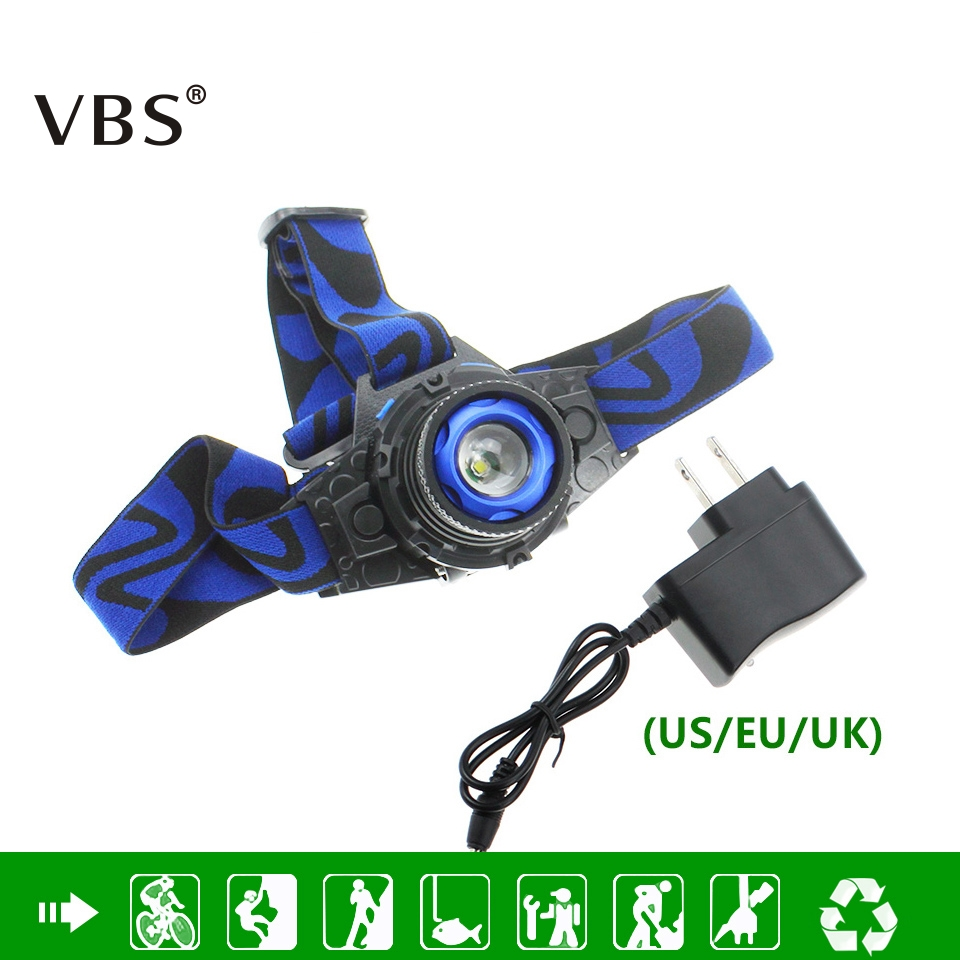 LED Headlamp Cree XPE Q5 Waterproof High Bright Built-in Lithium Battery Rechargeable Headlight + Charger 3 Modes Zoomable Torch
