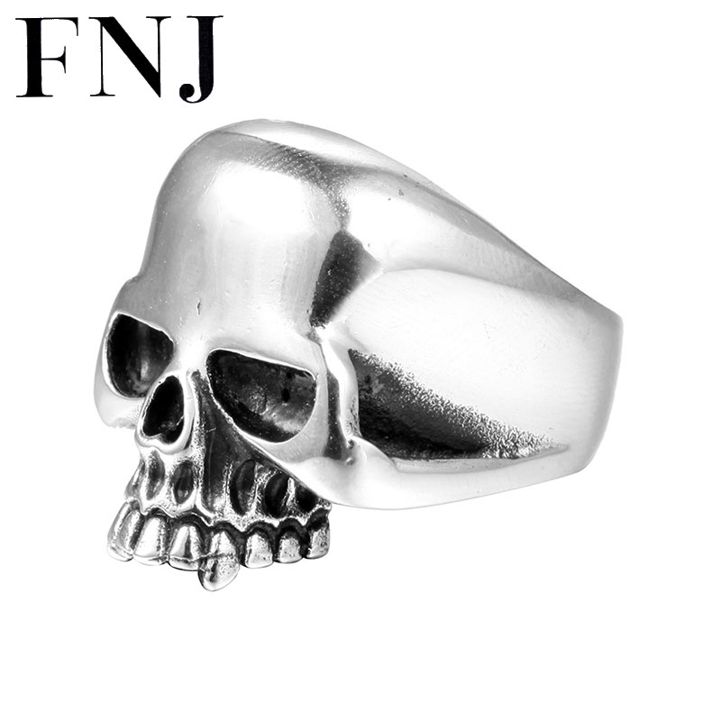 FNJ 925 Silver Skull Ring Skeleton New Fashion Punk Original S925 Sterling Silver Rings for Men Jewelry Adjustable Size USA 8-12