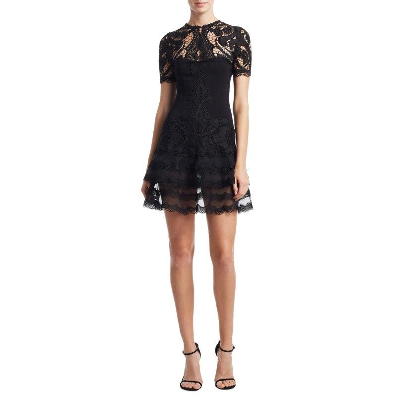 Sexy noir évider dentelle robes de soirée 2018 femmes d'été o-cou à manches courtes volants haute qualité robe de piste