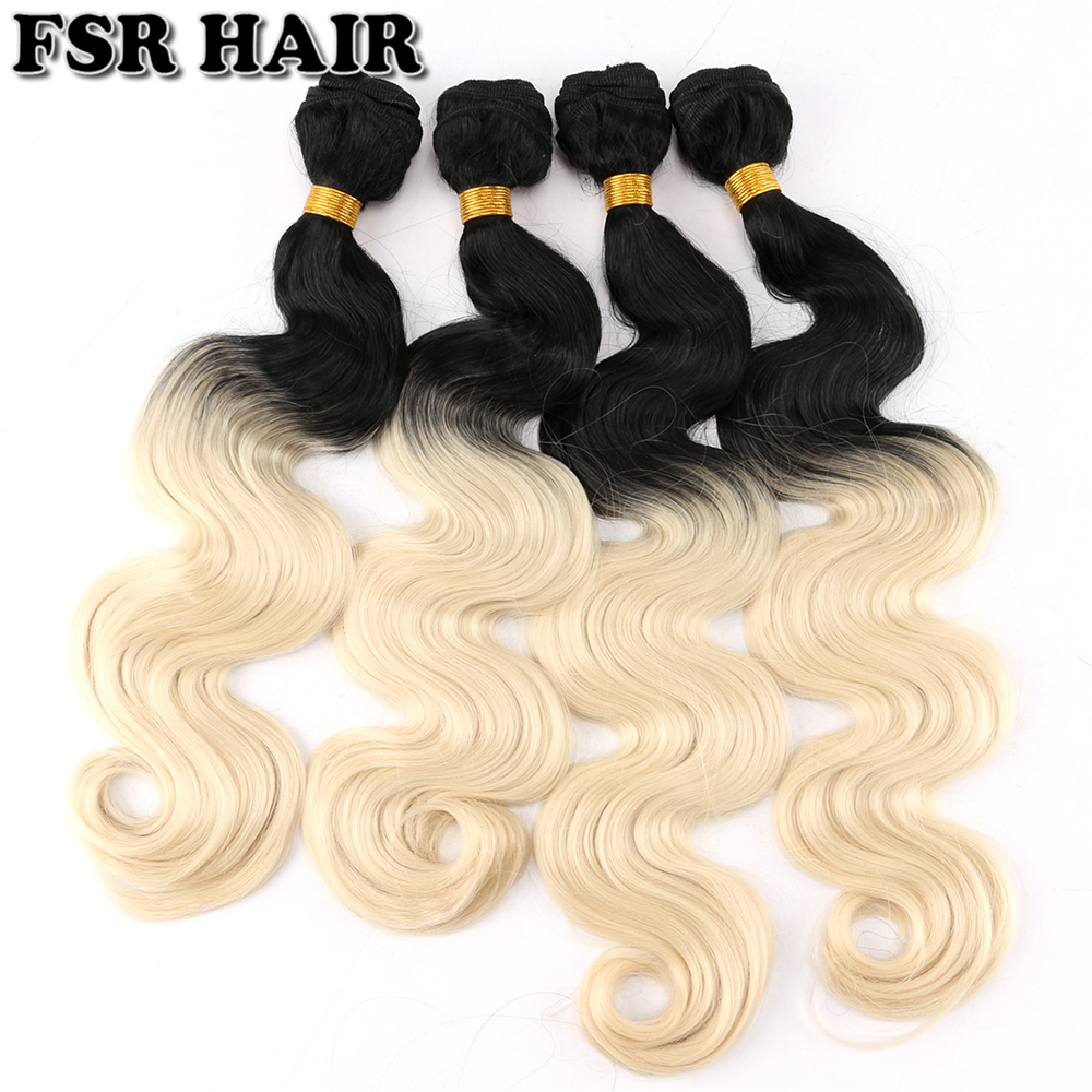 FSR 100Gram/pcs Two Tone Ombre Synthetic Hair Extensions T1B/613 Body Wave Hair Bundles 14-20 Inch Available Hair Weft