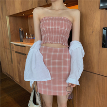 2 Piece Skirt Set Pink Outfit Matching Sets Plaid Print Shirred Crop Top And Summer Beach Two Women