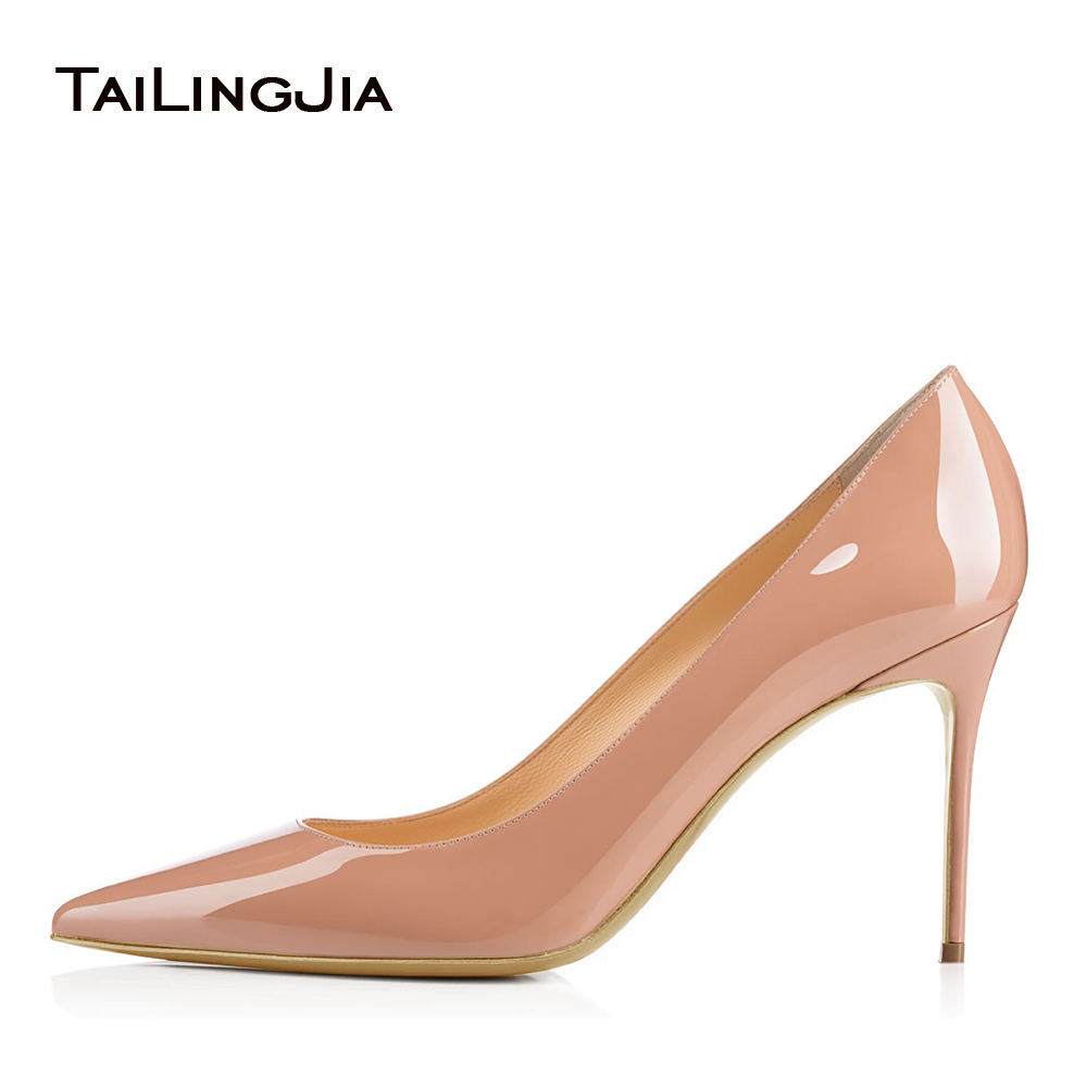 e3144d3104de Women Basic high heeled Shoes Pointed Toe Nude Office Lady Pumps White  Patent Leather Stiletto Heels Mid Heel Court Shoes 2018