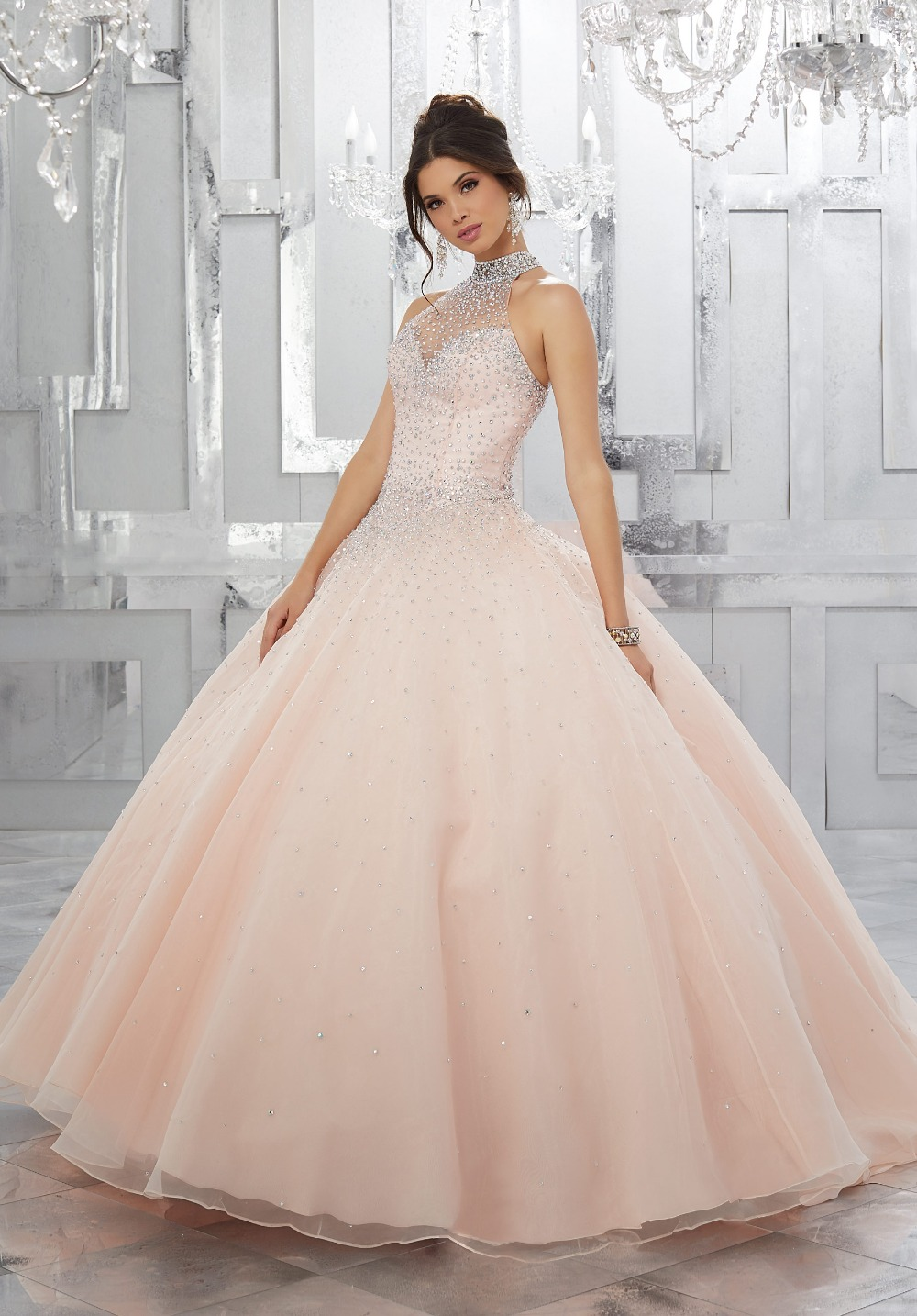 wejanedress Customized coral quinceanera dress 2017 Halter pink organza ball gown dress sweet 16 vestidos de 15