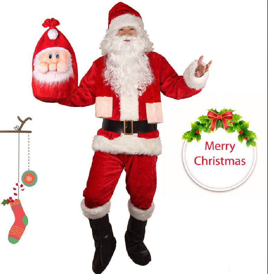 Santa Claus Costume Christmas Adult for Men Red A Full Set Plus Size 4XL Cosplay Merry Christmas Costumes Free Bag Bread Wig