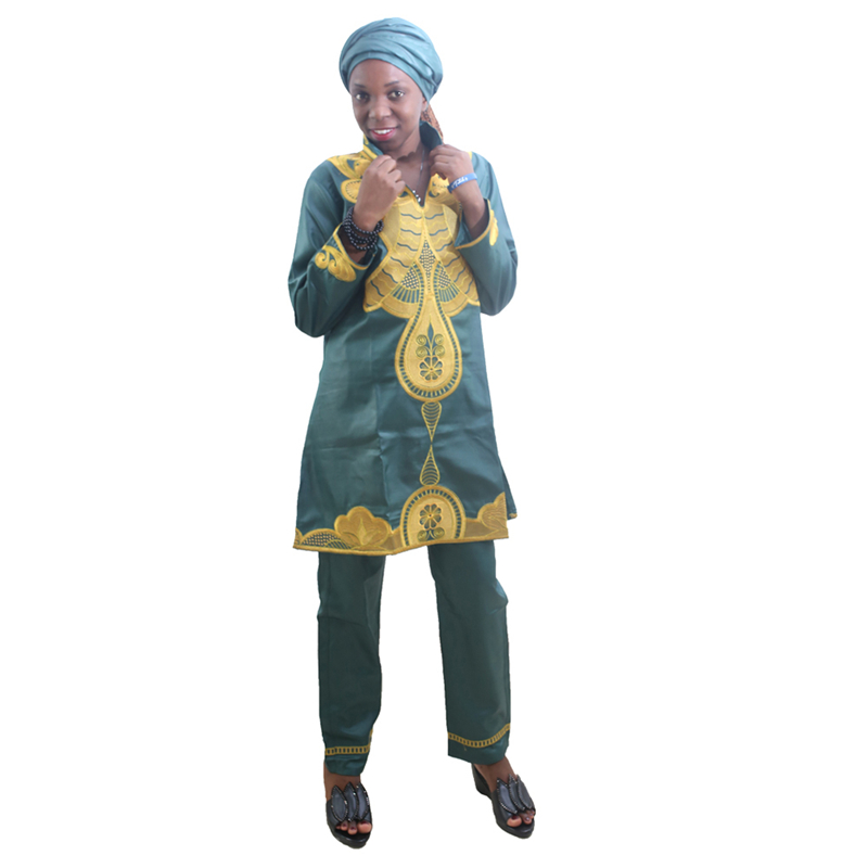 MD 2019 african clothes for women tops pants set embroidery pattern dress south africa lady clothing with scarf long trouser in Africa Clothing from Novelty Special Use