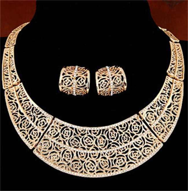 2019 Boho African Dubai gold Color jewelry set Wholesale Brand Nigerian bridal bead wedding Jewelry set For Women costume