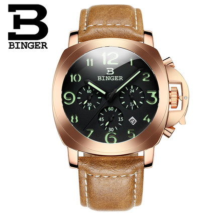 Luxury Brand Binger Watch Business unique Quartz Wristwatches steel calendar date cool man gift Switzerland wrist watches original binger mans automatic mechanical wrist watch date display watch self wind steel with gold wheel watches new luxury