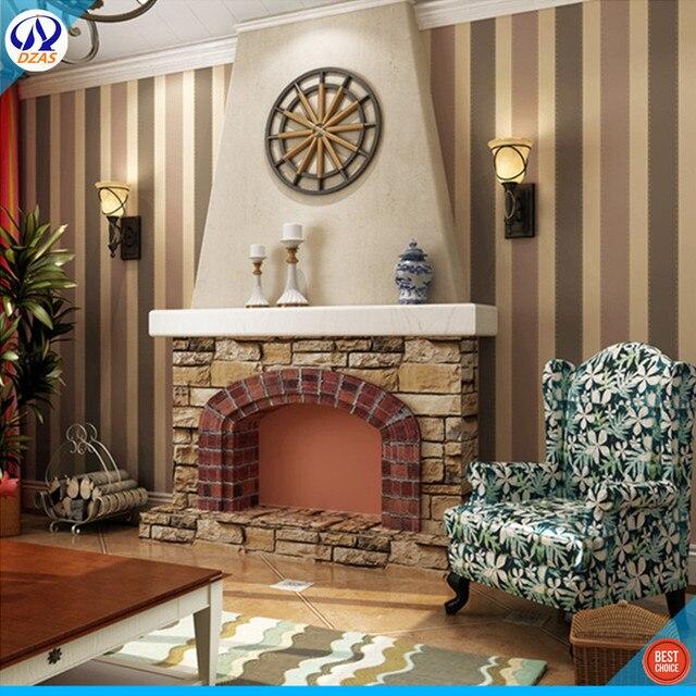 Streifen Wohnzimmer Schlafzimmer Britischen Stil Braun Streifen DZAS CJ  Wandtapete