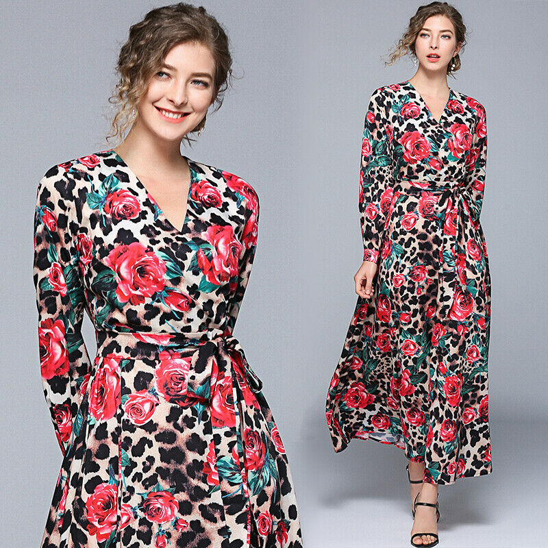 Womens Woman Ladies Designer Dress Clothes Party Long Maxi Beach Sexy V Neck Vintage Leopard Rose Runway Swing Dresses For Women Dresses Aliexpress,Small Space Small Beauty Salon Design Ideas