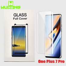 WuKong 10D UV Glass For Oneplus 7 Pro Screen Protector Full Cover Case Full Glue Liquid Tempered Glass 1+7 Pro UV Glue+UV Light