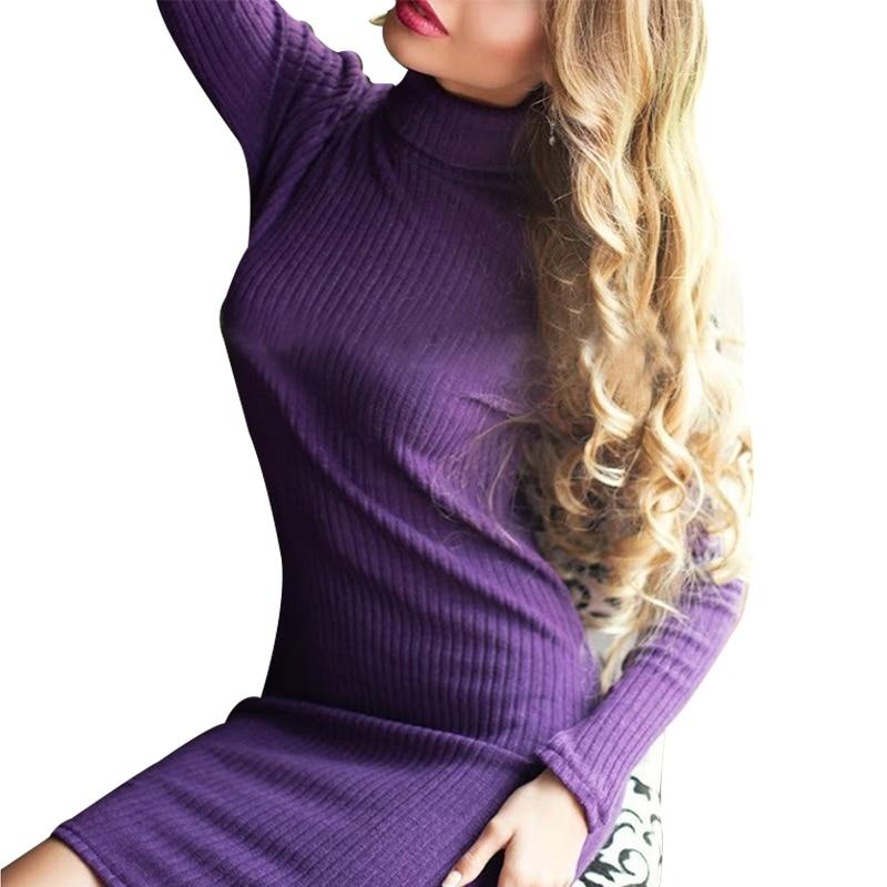 2016 Autumn Winter Women Long Sleeve Slim Knitted Dress Fashion Turtleneck Bodycon Stretchy Short Mini Sweater Dresses Vestidos