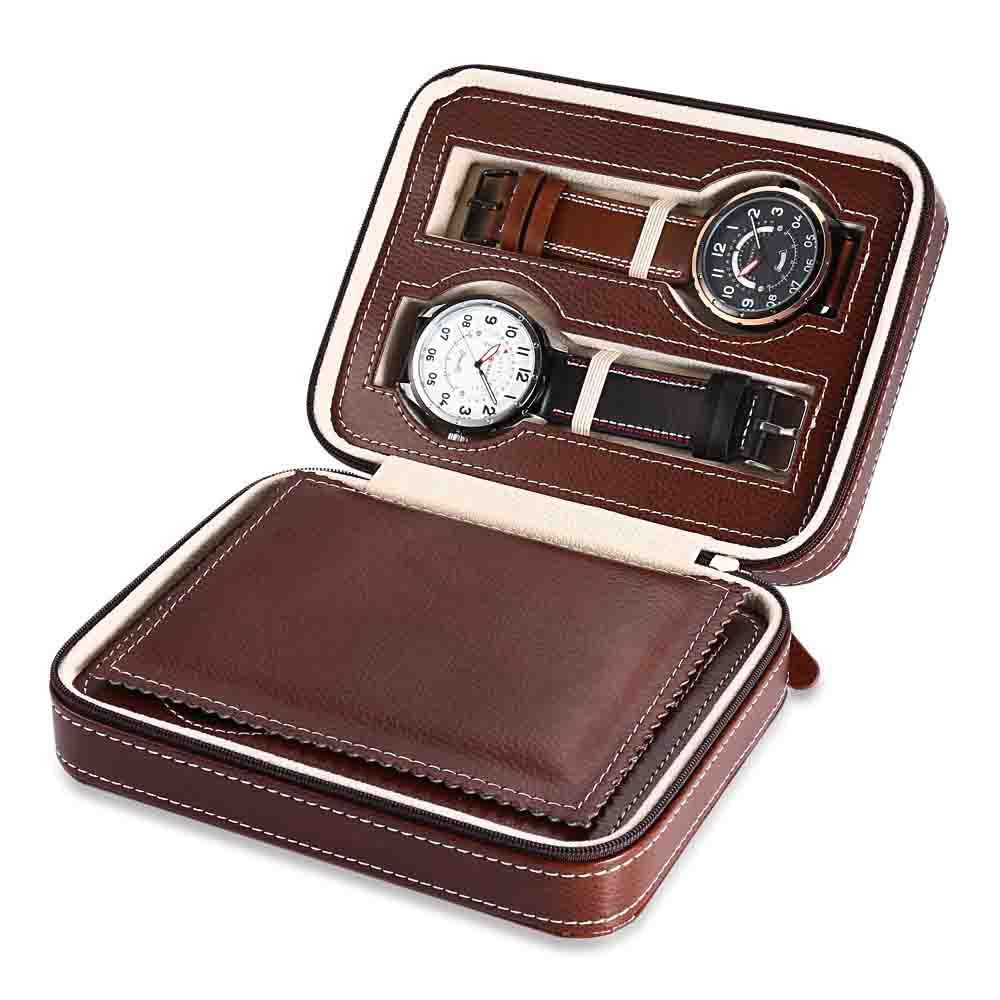 watch zipper package travel convenient carry jewel box Hot 4 Brown black watch box Caja Reloj container Jewelry Organizer 2018