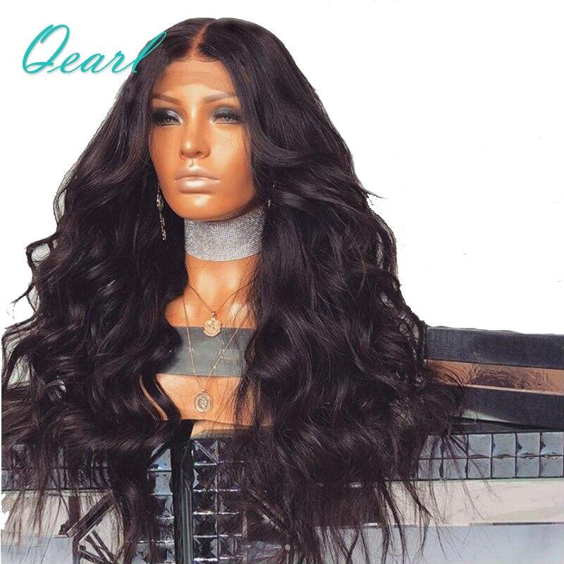 Super Densité Épaisse Corps Ondulé En Dentelle Avant Cheveux Humains Perruques 480g Super Poids Brésilien Remy Cheveux Avant De Lacet Perruques 13x4 Qearl Cheveux