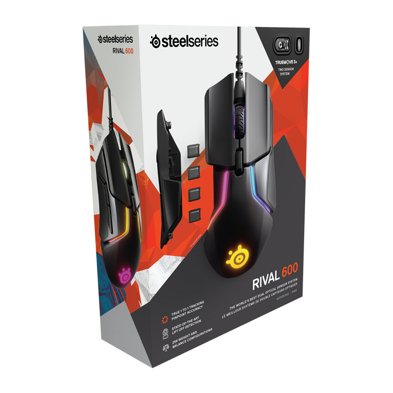 SteelSeries Rival 600 wired gaming mouse rgb macro programming dual sensor counterweight anti skid free weight Mouse - 5
