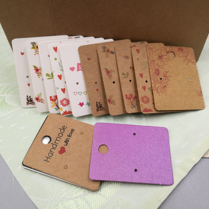 Hotsale 100Pieces/Lot 5X4CM Earrings Dispaly Fashion Jewelry Colorful Card Organizer Tags DIY Handmade Earring Stud Packing Card