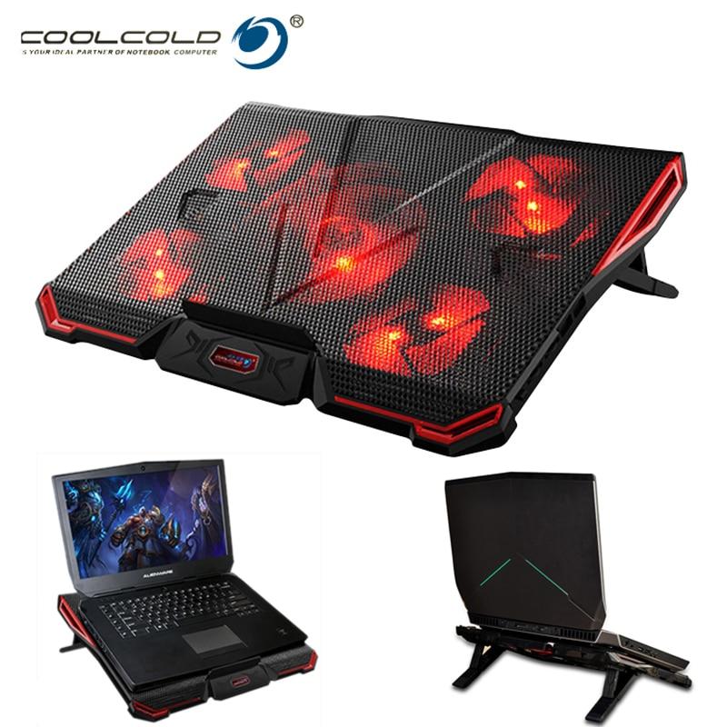 купить Coolcold Notebook PC Cooler Laptop Cooling Pad Stand Air Cooled 5 Fans USB Ergonomics Adjustable Holder for 15.6 17 Laptop недорого