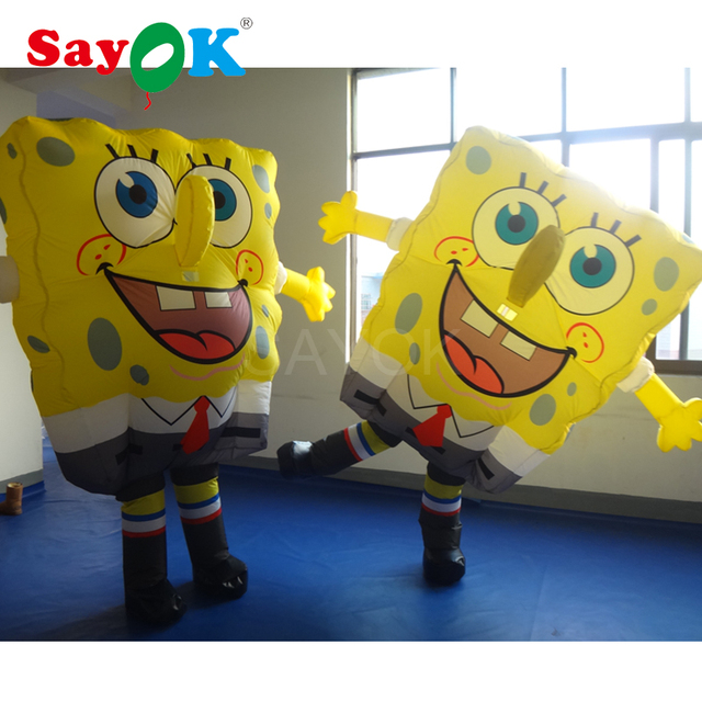 2m Inflatable Spongebob Costume Moving Cartoon Mascot For Party