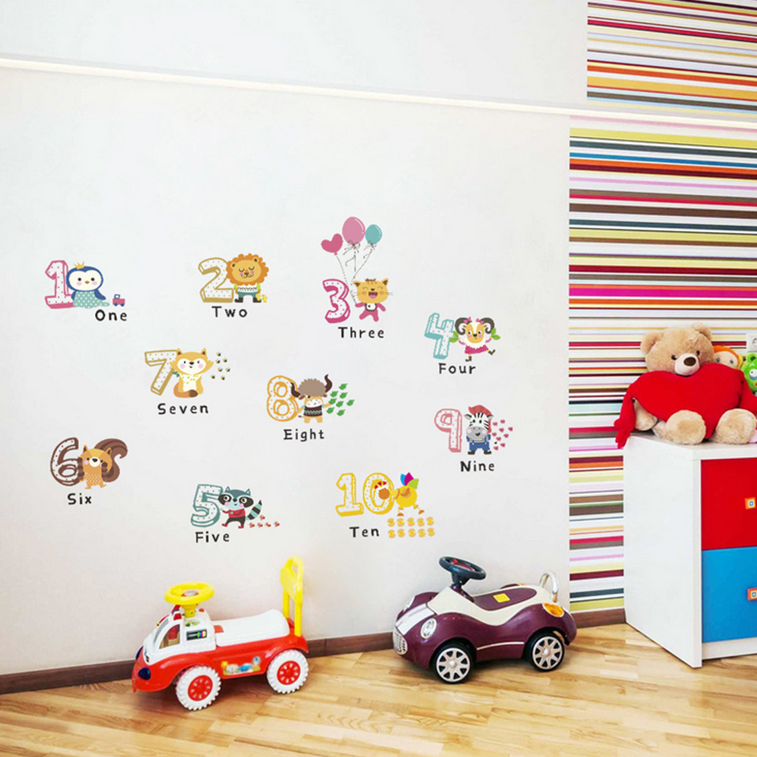 Lovely Animals Number Wall Stickers For Kids Room Home Decoration Removable Environmental Cartoon Animals Wall Decals Mural Art