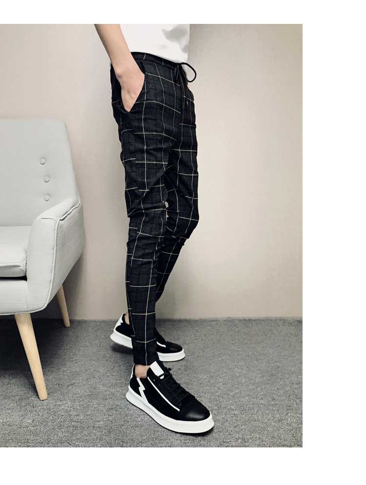 New Pants Men Slim Fit British Plaid Mens Pants Fashion High Quality 2020 Summer Casual Young Man Hip Hop Trousers Male Hot Sale 20