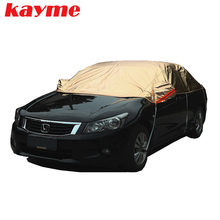 ФОТО kayme waterproof car covers peva cotton outdoor sun protection dust rain snow protective suv sedan hatchback full cover for car