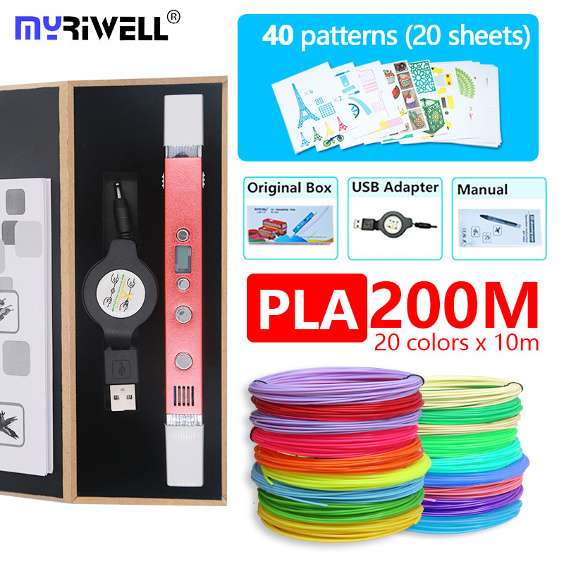 myriwell 3d pen RP100C with PLA 1.75 MM Filament free pattern safety plasic the best gift of kids ch