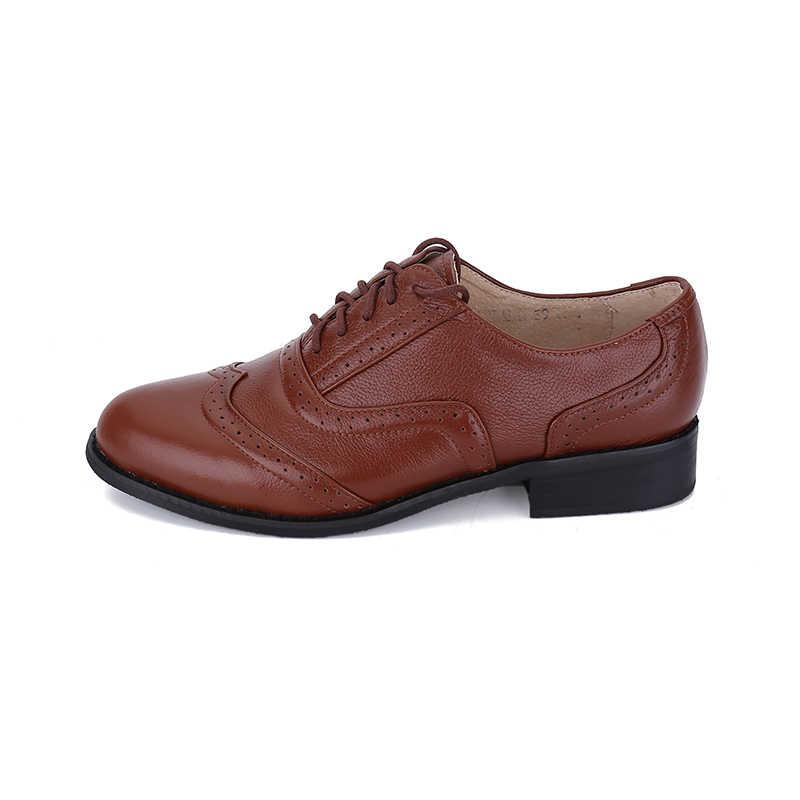 Kích Thước lớn 34-47 Oxford Giày Đối Với Phụ Nữ Brown Phụ Nữ Cổ Điển Flats Ren-Up Đi Núi Oxford Giày Ladies Genuine Leather Wing Mẹo giày