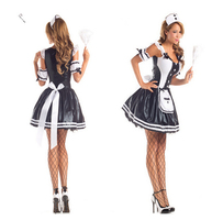 2015 Hot Negro Blanco Sexy Uniforme De Mucama Francesa de Halloween Camarero Traje Lingeire Vestido de Mujer de Manga Corta Mini Vestido Bow BI149