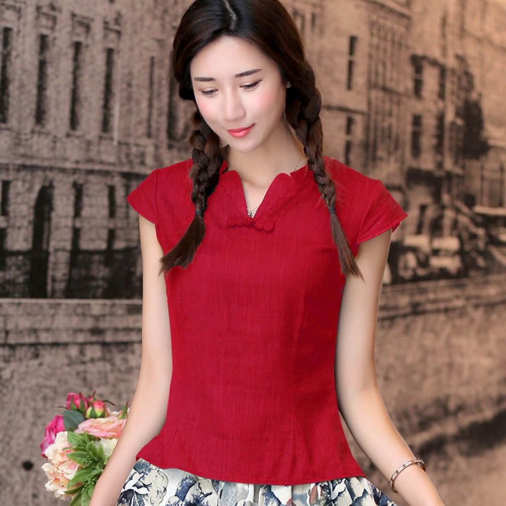 5447f89bc View Offer. Tags: shanghai, story, neck, national, trend, shirt, tradition,  chinese, cheongsam, top, traditional, women, linen ...