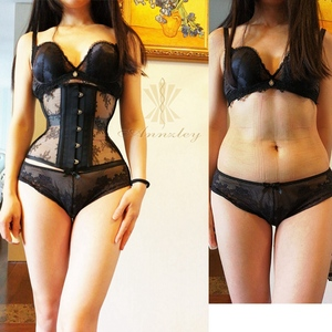 Image 1 - Annzley Corset Slimming Before And After Black Mesh Steel Boned Underbust Corset For Weight Loss