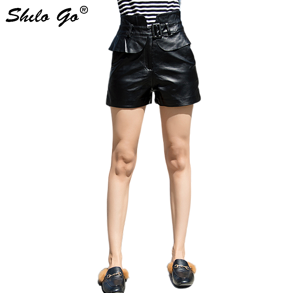 Streetwear Leather Shorts Women Casual Ruffles Belt High Waist Sheepskin Genuine Leather Straight Shorts Loose Female Hot Shorts