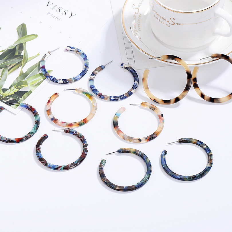 2019 ZA Jewelry Acrylic Resin Oval Earring For Women Geometry Big Circle Tortoiseshell Stud Earrings Acetate Brincos Wholesale